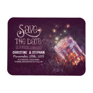 Plum Mason Jar Fireflies Save the Date Magnet