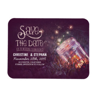 Plum Mason Jar Fireflies Save the Date Rectangular Photo Magnet