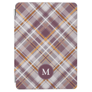plum orange diagonal plaid monogrammed