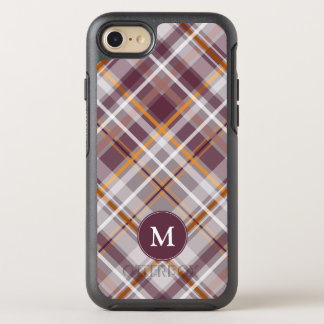 plum orange diagonal plaid monogrammed OtterBox symmetry iPhone 8/7 case