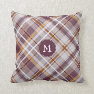 plum orange rust diagonal plaid monogrammed throw pillow