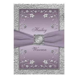 Plum Pewter Floral Monogrammed Wedding Invite 2