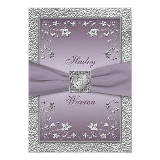Plum, Pewter Floral Monogrammed Wedding Invite 2