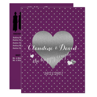 Plum Polka Dot Elegant Wedding Program Card