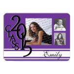 "Plum Purple 2015 Graduation Tri Photo 4.5"" X 6.25"" Invitation Card"