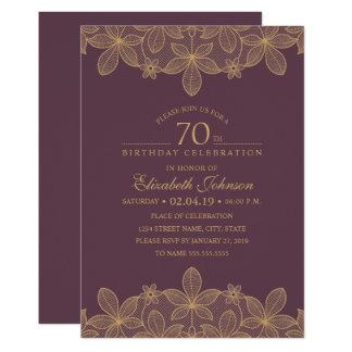 Plum Purple 70th Birthday Party Unique Golden Lace Card