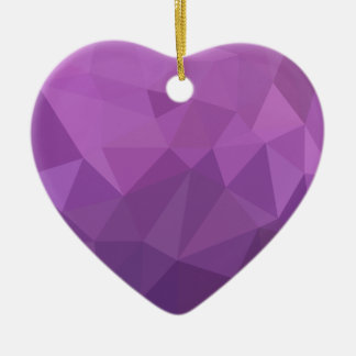 Plum Purple Abstract Low Polygon Background Ceramic Heart Ornament