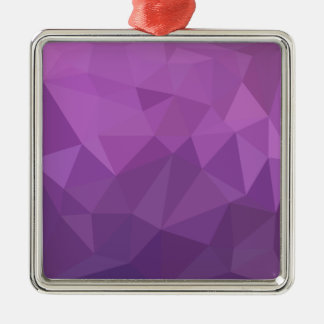Plum Purple Abstract Low Polygon Background Silver-Colored Square Ornament