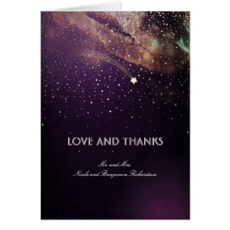 Plum Purple and Gold Shooting Star Night Thank You Card