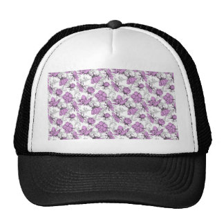 Plum Purple and Gray Vintage Floral Pattern Trucker Hat