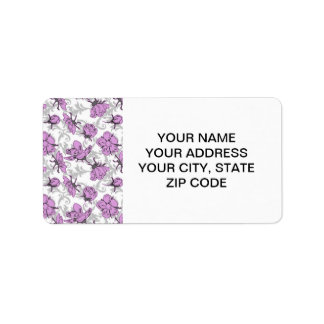 Plum Purple and Gray Vintage Floral Pattern Label