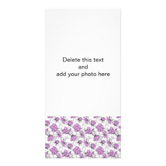 Plum Purple and Gray Vintage Floral Pattern Custom Photo Card