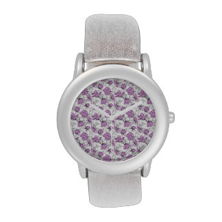 Plum Purple and Gray Vintage Floral Pattern Watch