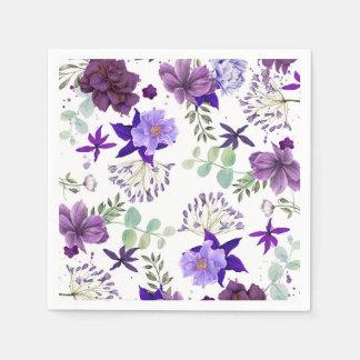 Plum Purple and Violet Flowers Elegant Celebration Paper Napkin