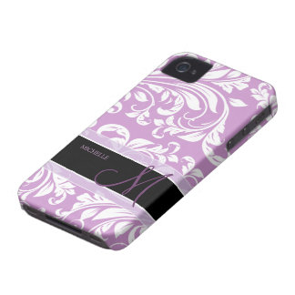Plum Purple and white floral damask w/ monogram iPhone 4 Case-Mate Cases