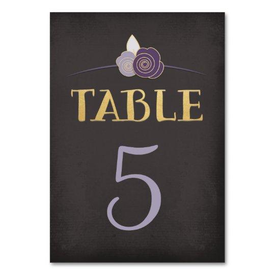 Plum Purple Faux-Gold Chalk Floral Table Number