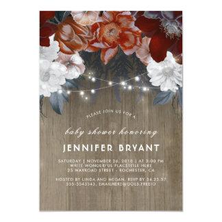 Plum Purple Floral Lights Rustic Baby Shower Card