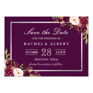 Plum Purple Floral Silver Gray Save the Date Card
