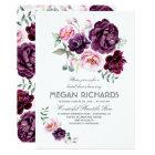 Plum Purple Floral Watercolor Boho Bridal Shower Card