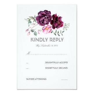 Plum Purple Flowers Watercolor Wedding RSVP Card