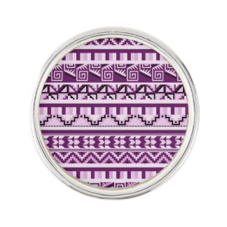 Plum Purple Geometric Aztec Tribal Print Pattern Lapel Pin