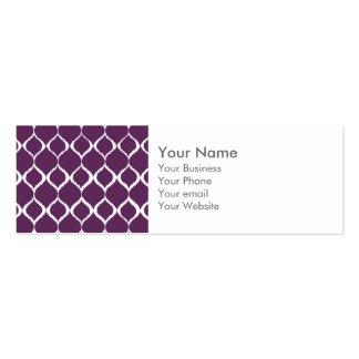 Plum Purple Geometric Ikat Tribal Print Pattern Business Cards