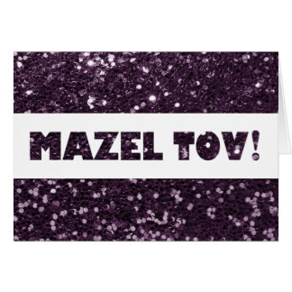 Plum Purple Glitter Mazel Tov Congratulations Card
