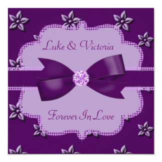 Plum Purple Island Flowers & Rhinestones Wedding Card