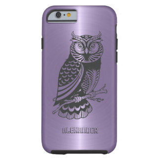 Plum Purple Metallic Background With Black Owl Tough iPhone 6 Case