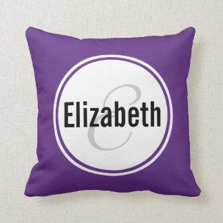 Plum Purple Monogram Name Keepsake Throw Pillow