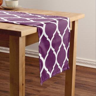 Plum Purple Moroccan Quatrefoil Short Table Runner