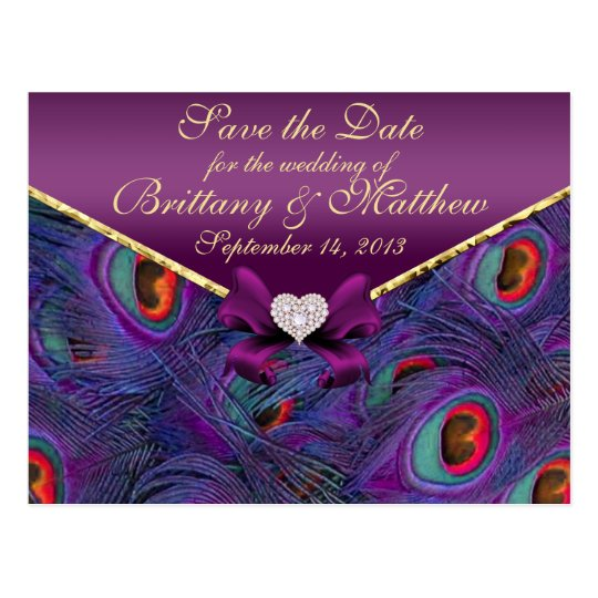 Plum Purple Peacock Save the Date Postcard