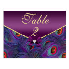 Plum Purple Peacock Table Number Card