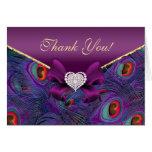 Plum Purple Peacock Thank You Card