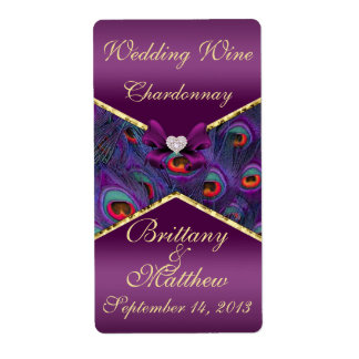 Plum Purple Peacock  Wedding Wine Label