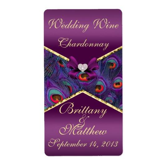 Plum Purple Peacock  Wedding Wine Label Shipping Label