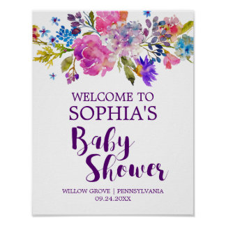Plum Purple Pink & Blue Flower Baby Shower Welcome Poster