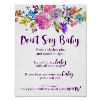 Plum Purple Pink & Blue Flower Don't Say Baby Sign