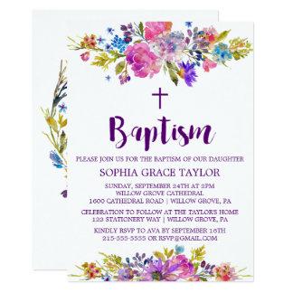 Plum Purple Pink & Blue Flowers Baptism Card