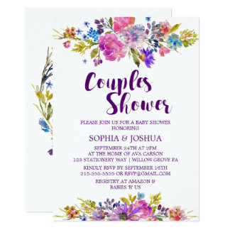Plum Purple Pink & Blue Flowers Couples Shower Card