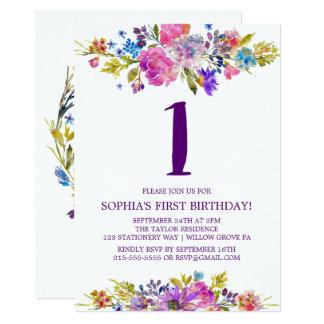 Plum Purple Pink & Blue Flowers First Birthday Card
