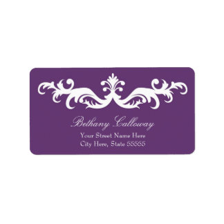 Plum Purple Return Address Label//Elegant Damask Label