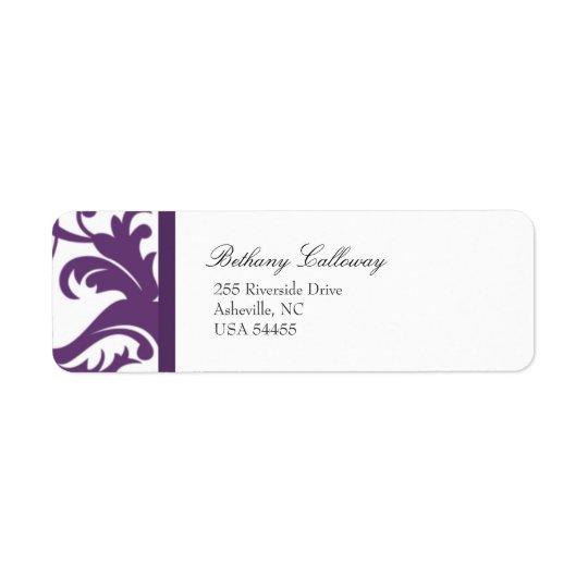 Plum Purple Return Address Label//Elegant Damask Return Address Label