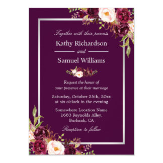 Plum Purple Rustic Floral Silver Gray Fall Wedding Card