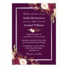 Plum Purple Rustic Floral Silver Grey Fall Wedding Card