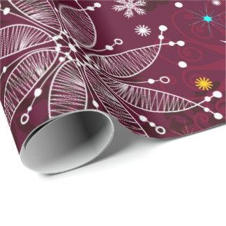 Plum purple snowflake pattern wrapping paper