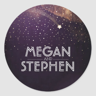 Plum Purple Starry Night Shooting Star Wedding Round Sticker
