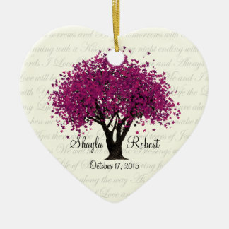 Plum Purple Tree Wedding Photo Ceramic Heart Ornament