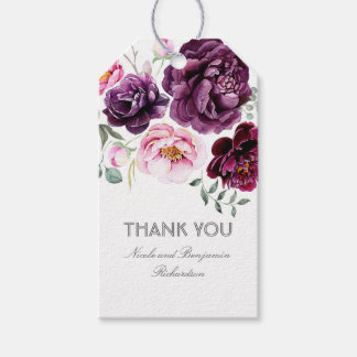 Plum Purple Watercolor Flowers Elegant Boho Pack Of Gift Tags