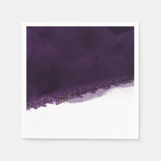 Plum Purple Watercolor & Gold Modern Chic Elegant Paper Napkin
